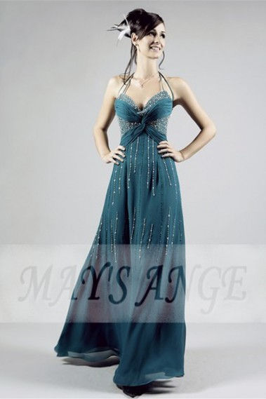 Sexy Long Cocktail Dress in Duck Blue Color With Rain of Silver Glitter - L119 #1