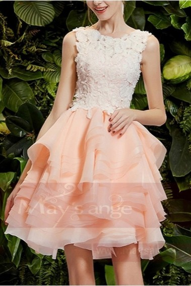 Robe cocktail glamour - robe de bal rose courte en dentelles - C749 #1