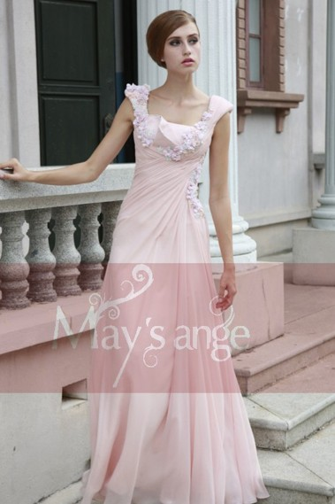 Evening Dress with straps - Pretty Pink Long Dress With Flowers - L122 #1