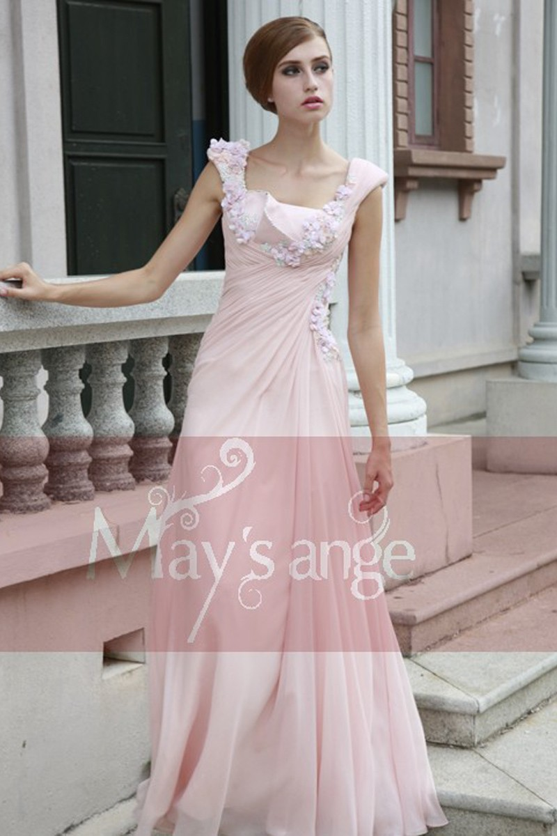 Pretty Pink Long Dress With Flowers - Ref L122 - 01