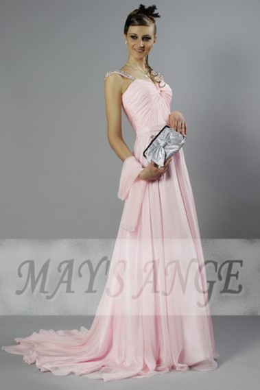Long bridesmaid dress - Pink Princess dress with two straps - L125 #1