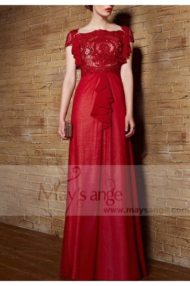Red evening dress - RED FORMAL DRESS WITH RUFFLE SLEEVES FOR MOTHER OF THE BRIDE - PR118 #1