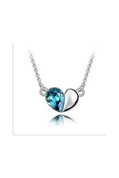 Beautiful blue heart wedding necklace - F105 #1