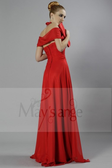 Fluid Evening Dress - Off Shoulder Sexy Red Long Evening Dress - L127 #1