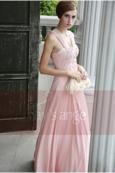 Evening Dress with straps - Long Pink Dress For Special Occasion - L128 #1