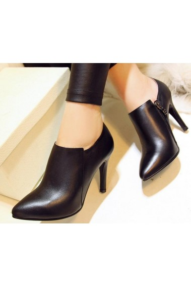 Elegant Womens Leather Black Ankle Boots - DX078 #1