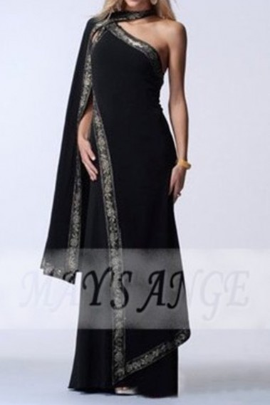 Evening Dress with straps - Traditional Indian Sari Black color in satin - L138 #1