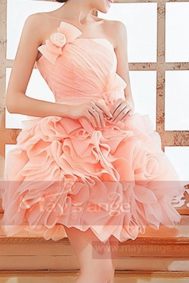 Strapless Pink Organza Ball Gown - C755 #1