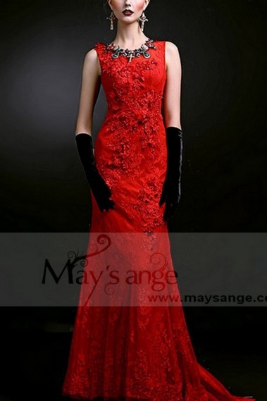 Mermaid Evening Dress - MERMAID RED CLASSIC PROM DRESS EMBROIDERED LACE FABRIC WITH TRAIN - L735 #1