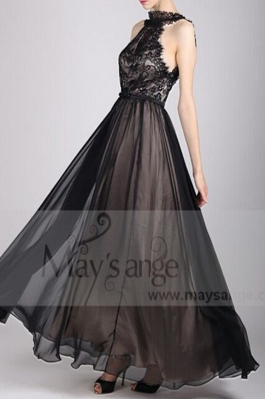 LONG BLACK EVENING DRESS SLEEVELESS LACE BODICE - L725 #1