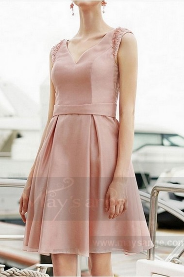 Pink evening dress - SHORT PINK BRIDESMAID DRESS V NECKLINE AND BEADED STRAPS - C759 #1