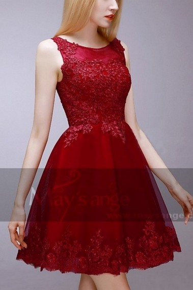 Evening Dress with straps - EMBROIDERED RED COCKTAIL DRESS - C765 #1