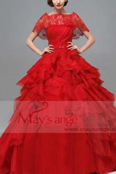 Red evening dress - Robe de bal p077 - P077 #1