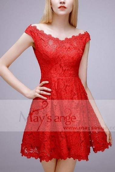Short evening dress - Lace Sexy Short Red Cocktail Dress - C764 #1