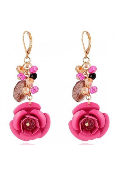 Cute golden pink flower drop earrings - B082 #1