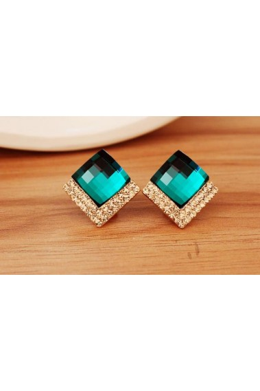 Stylish golden emerald green earrings - B083 #1