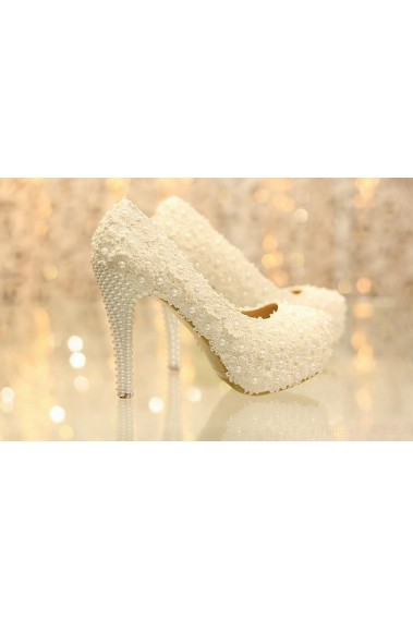 Beautiful Lace Wedding Heels And Pearls - CH030 #1