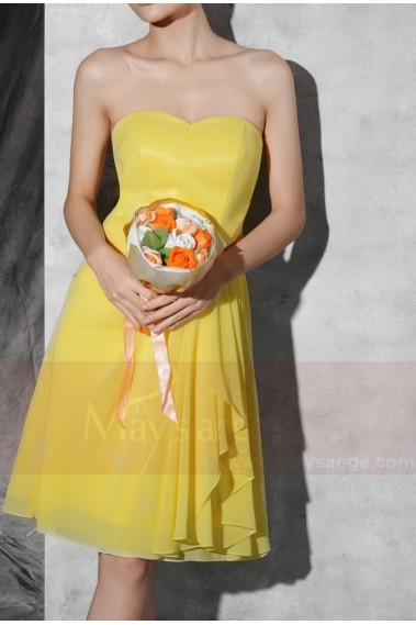 Backless cocktail dress - Yellow Short Chiffon Party Dress With Sweetheart Bodice - C688 #1
