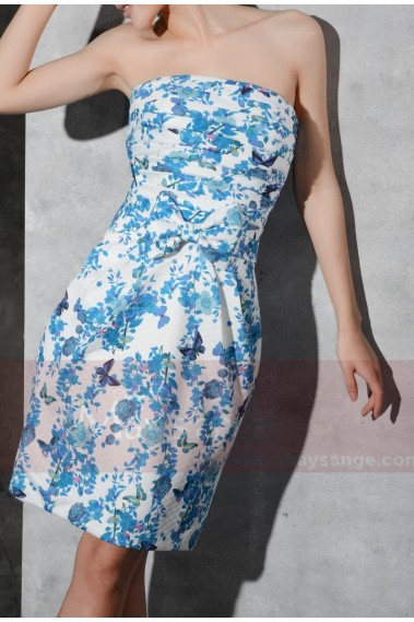 Backless cocktail dress - Floral-Print Blue Wedding-Guest Short Party Dress - C805 #1