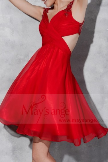 Long cocktail dress - Short Open-Back Red Cocktail Dress With Imbroidered Straps - C803 #1