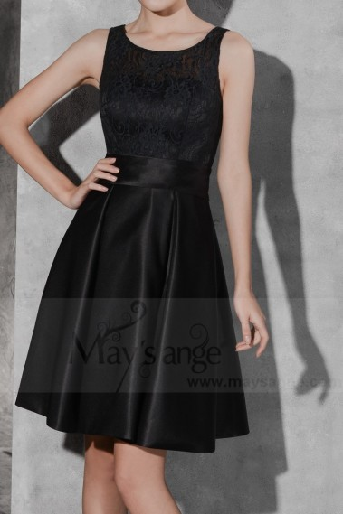 Cheap cocktail dress - Black Short Satin Homecoming Dress with Lace Bodice - C804 #1