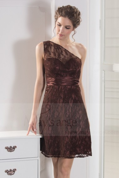Robe de cocktail marron - robe de cocktail en dentelle chocolat sexy - C792 #1
