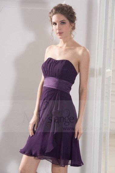 Robe de cocktail fluide - robe de cocktail violet mousseline ceinture satin - C780 #1