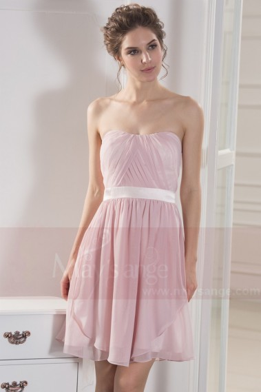 Robe de cocktail chic - robe de cocktail rose poudre ceinture en satin - C782 #1