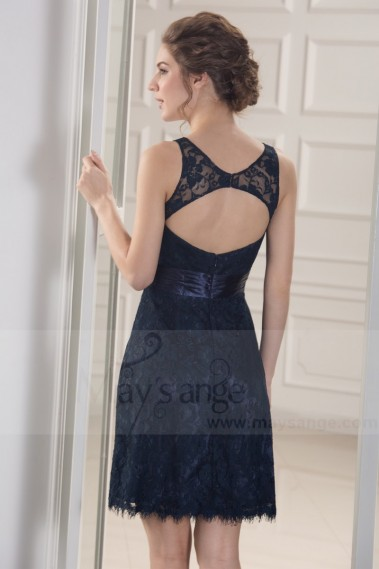 Robe de cocktail bleu - robes de cocktail en dentelle bleu nuit dos nu - C790 #1