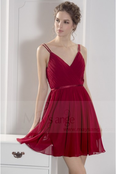Robe de cocktail fluide - robe cocktail   bordeaux - C783 #1
