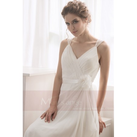 robe blanche simple pour mariage - Ref L738 - 02
