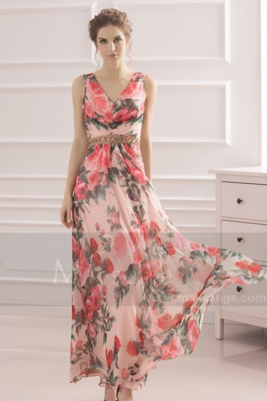 Fluid Evening Dress - Long Floral-Print Formal Wedding Guest Dress - L742 #1