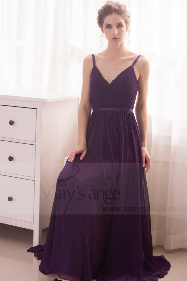 robe de soiree long violet ceinture fine satin L746
