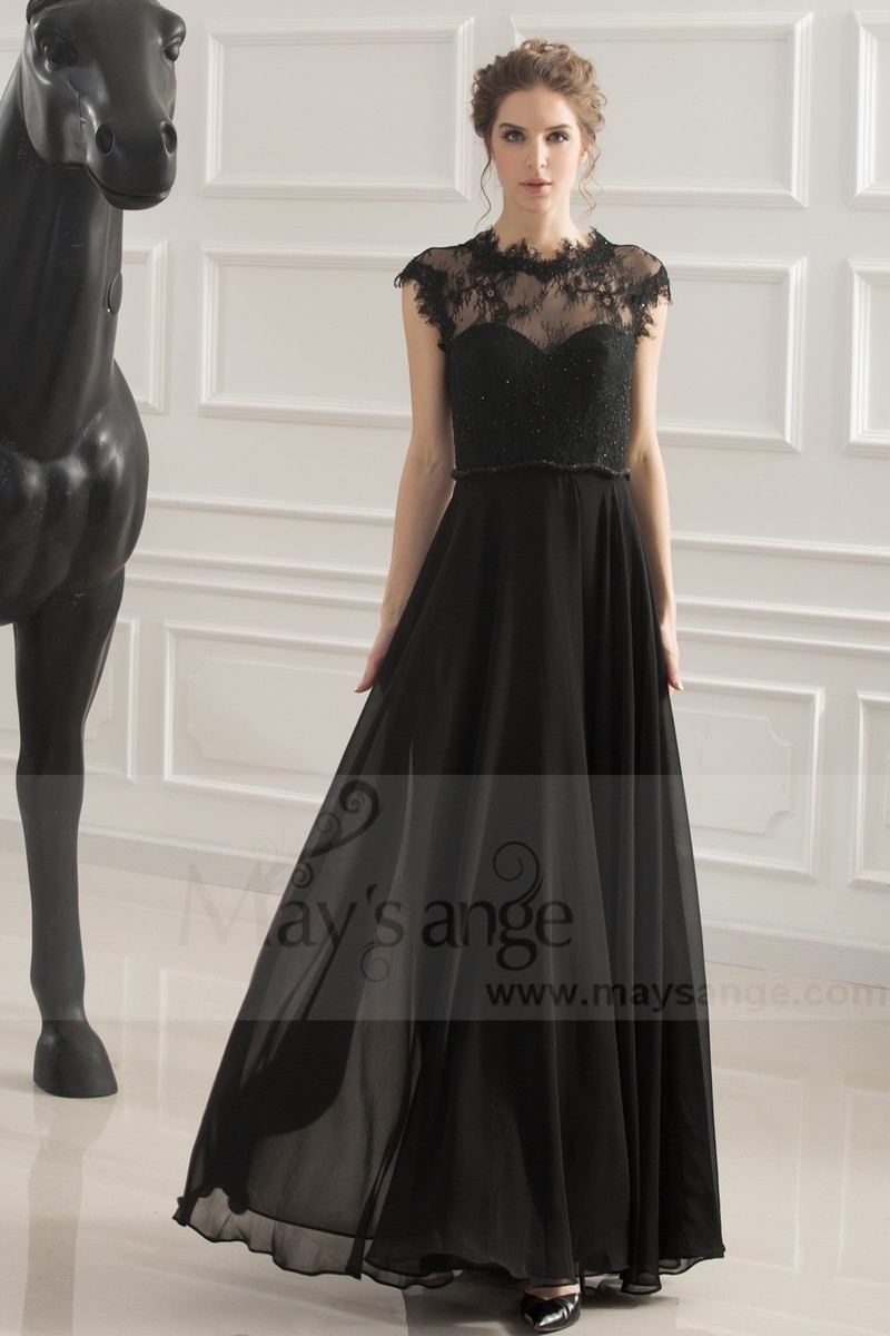 robe de soiree noir coupe empire - Ref L749 - 01