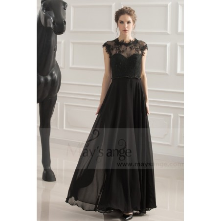 robe de soiree noir coupe empire - Ref L749 - 02