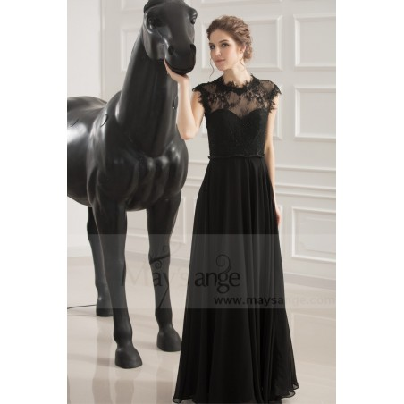 robe de soiree noir coupe empire - Ref L749 - 03