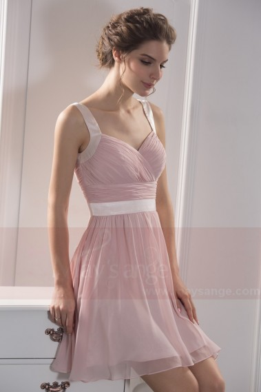 Robe de cocktail bretelle - robe de cocktail rose poudre double bretelles - C784 #1
