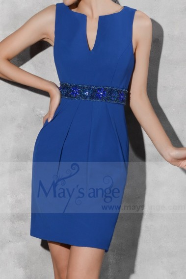 Robe de cocktail mousseline - robe de fete courte bleu roi - C798 #1