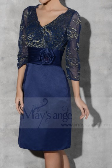 Short Evening Dress Long Sleeve Navy Blue - C793 #1