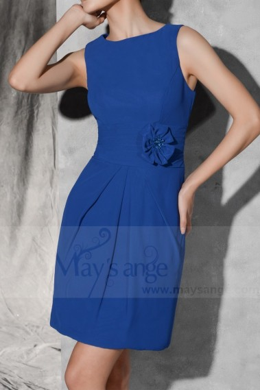 Blue cocktail dress - Royal Blue Knee-Length Sheath Graduation Party Dress - C796 #1