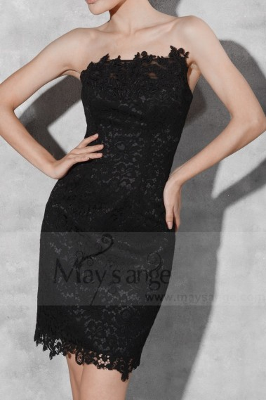 Black Short Lace Sheath Strapless Party Dress - C797 #1