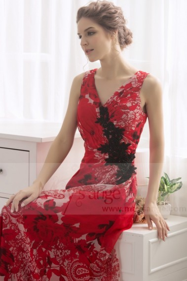 Evening Dress with straps - Long Print Dress V Neckline In Muslin - L187 #1