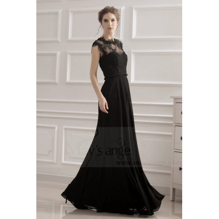 robe de soiree noir coupe empire - Ref L749 - 04