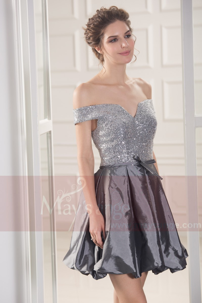 0103e2a89a0 Off-The-Shoulder Silver Short Party Dress With Sequin Bodice - Ref C781 -