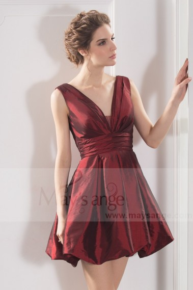 Long cocktail dress - Taffeta Short V-Neck Ball Gown In Burgundy - C786 #1