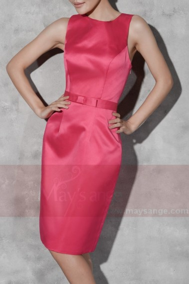 Straight cocktail dress - Short Sheath Fuchsia Cocktail Party Dress - C807 #1