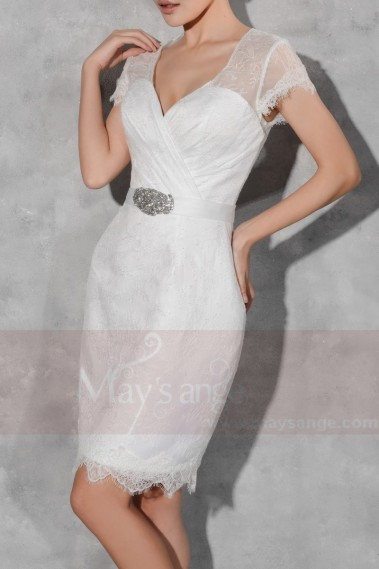 Short Lace Graduation Party Dress With Short Sleeves And Belt - C808 #1