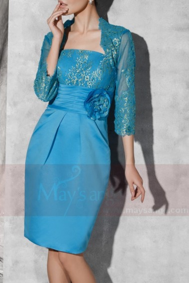 Light Blue Short Cocktail Dress With Matching Bolero - C811 #1