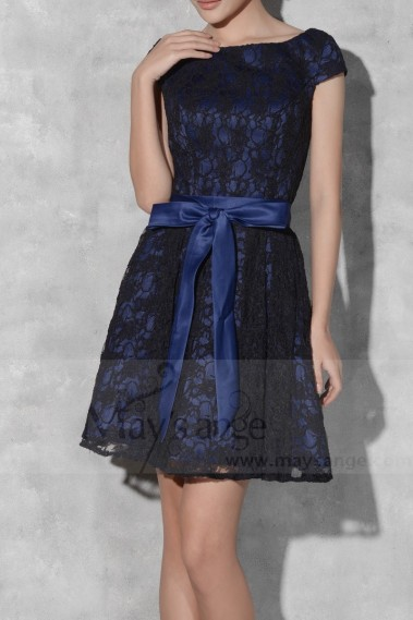 Black And Blue Lace Short Homecoming Dress With Belt