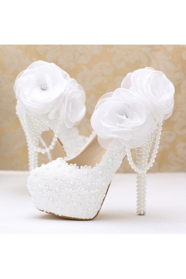 Flowers And Pearls White Wedding Pumps - CH076 #1